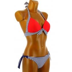 Maillot de bain 2 pièces bikini push up bleu blanc rouge DIANE