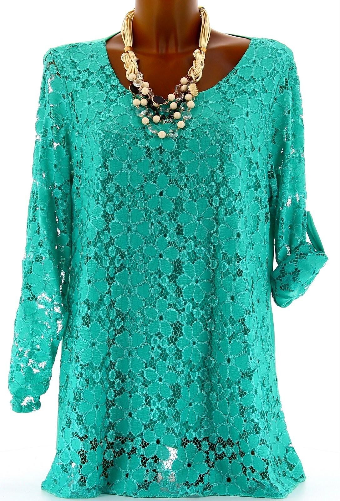 tunique chemise dentelle 40 48 boh me haut top maryse vert. Black Bedroom Furniture Sets. Home Design Ideas
