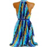 Robe tunique plissée mousseline bleue - RAYMONDE -