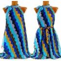Robe tunique plissée mousseline bleue - RAYMONDE