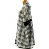 Poncho Kimono Tricot 36/56 - TONY - Noir /Beige