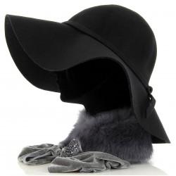 CApeline Chapeau 100 % laine feutre noir - BETTYNA -