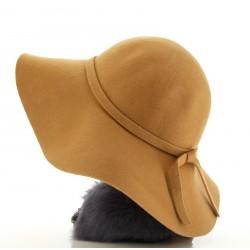 CApeline Chapeau 100 % laine feutre Camel - BETTYNA -