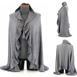 Etole écharpe cape Châle laine   JULIE  gris