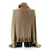 Etole écharpe cape laine  poncho volants  JULIE   taupe