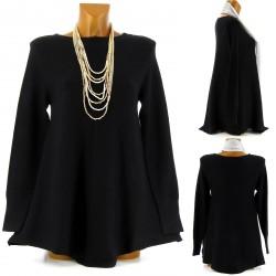 Pull tunique trapèze ample 36/46 noir MAXIME femme
