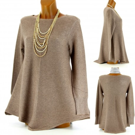 Pull tunique ample trapèze laine taupe 36/48 MAXIME femme