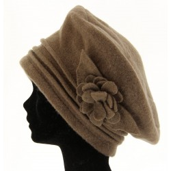 béret chapeau bonnet laine bouillie - FLOWER-  taupe