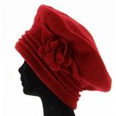 Béret laine bouillie Chapeau bonnet - FLOWER - rouge TU