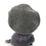 Béret laine bouillie Chapeau bonnet - FLOWER - TU gris