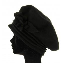 béret chapeau bonnet laine bouillie - FLOWER-  noir Taille unique