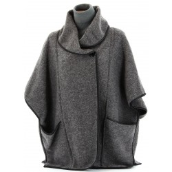 Cape manteau laine bouillie gris Foncé GASTON 40/54 grande taille femme
