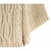 Poncho laine grosse maille laine alpaga beige ELODIE
