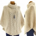 Poncho laine alpaga grosse maille hiver beige ELODIE