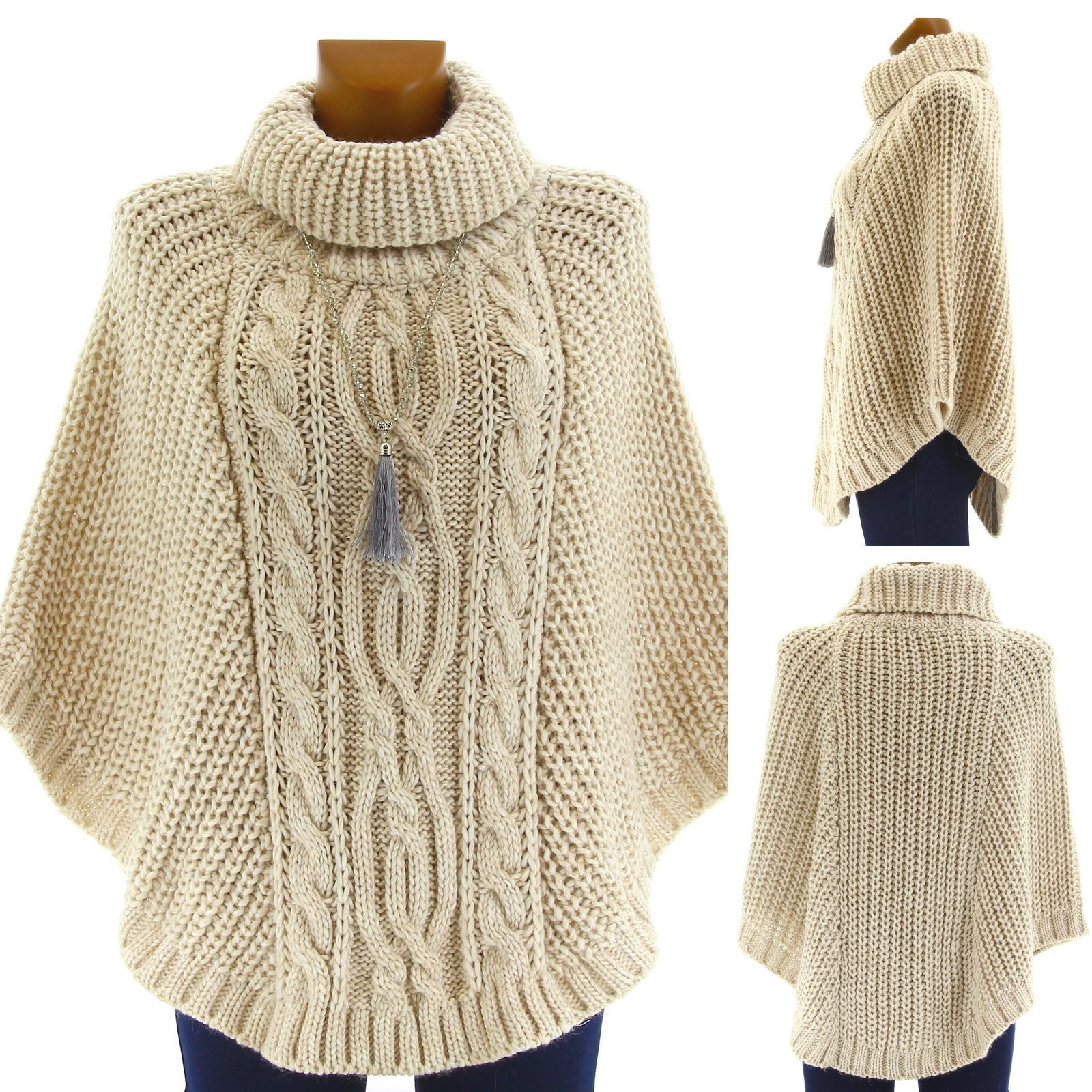 Poncho laine alpaga grosse maille hiver beige elodie - Laine grosse maille ...