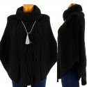 Poncho Pull Cape laine alpaga grosse maille hiver Noir ELODIE