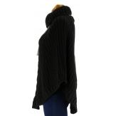 Poncho Pull Cape laine alpaga Noir ELODIE