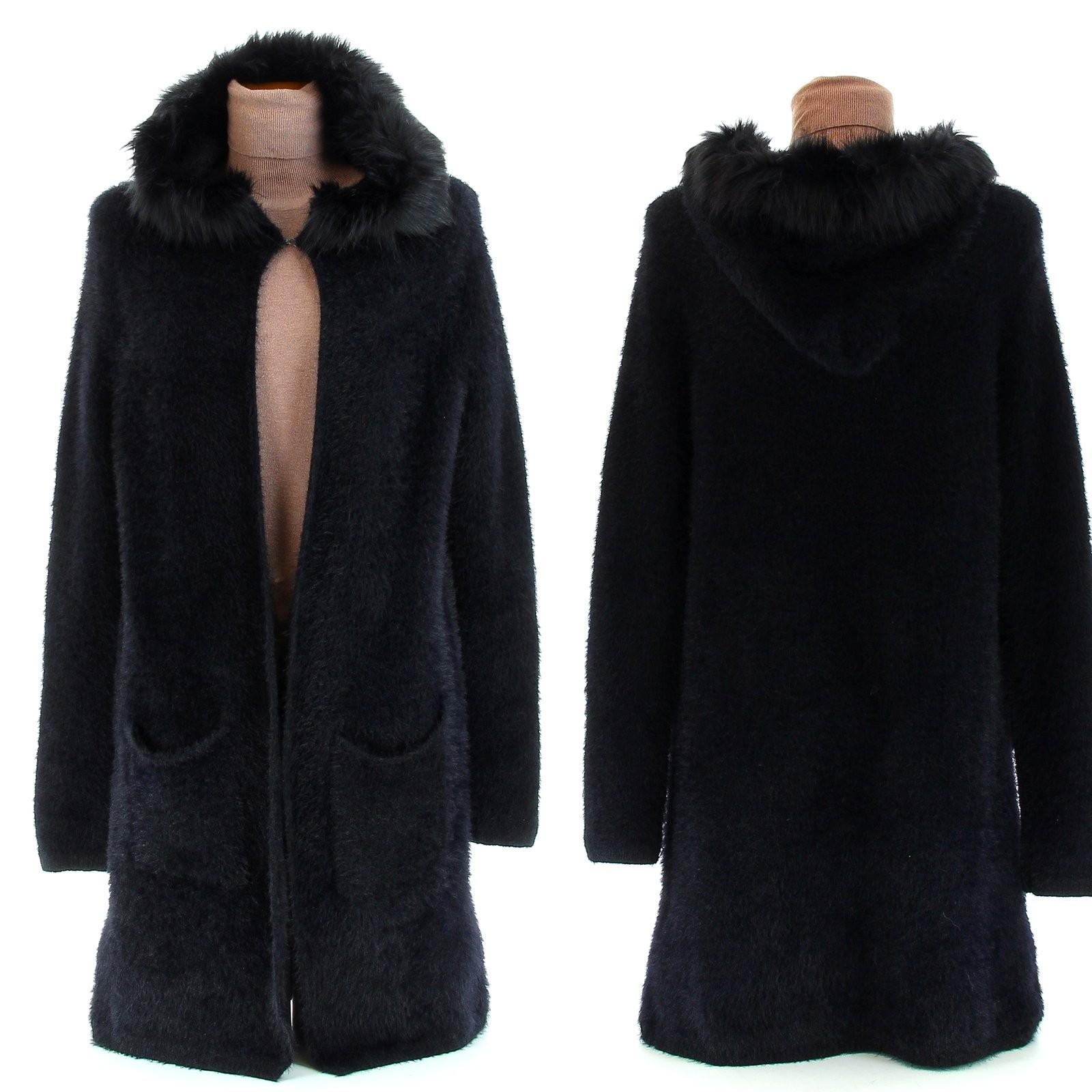 manteau gilet long laine pais capuche fourrure athena. Black Bedroom Furniture Sets. Home Design Ideas