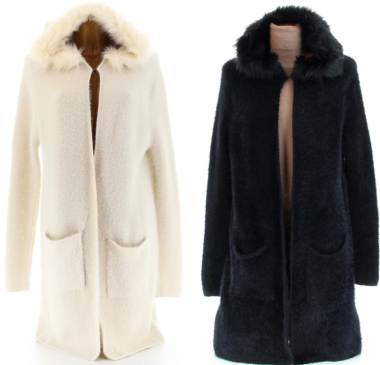 Manteau grosse maille laine femme