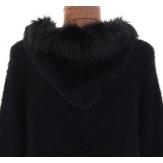 Manteau gilet  Long laine épais capuche fourrure ATHENA