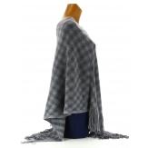 Poncho cape tricot Gris VALENTINA franges