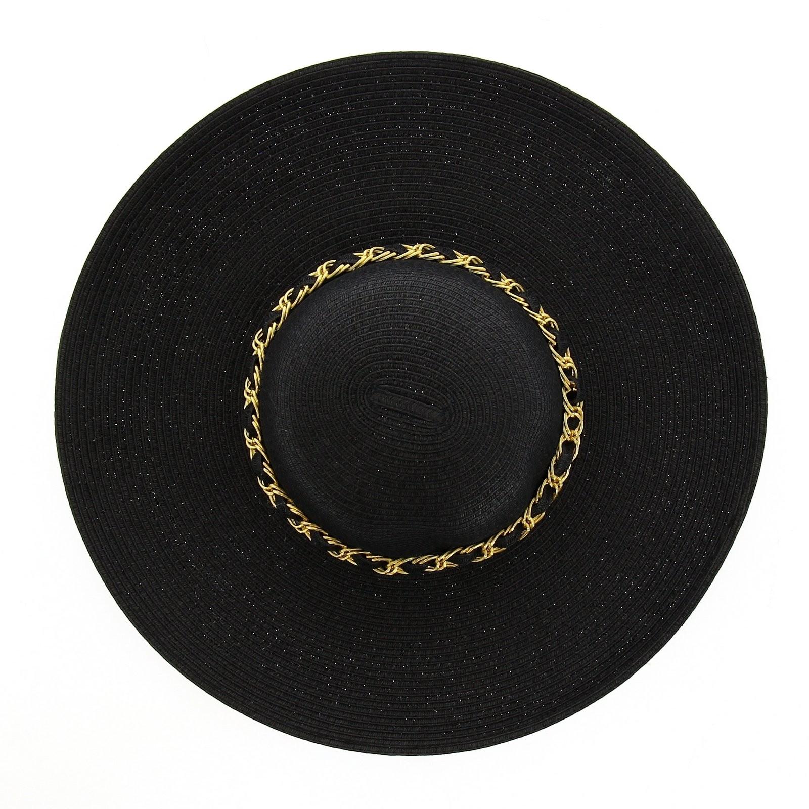 chapeau capeline paille noir logan c r monie et. Black Bedroom Furniture Sets. Home Design Ideas