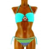 Maillot de bain Bikini  - POCAHONTAS - Bandeau Push up Bijoux  Vert turquoise