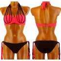 Maillot de bain Bikini  - FICELLA -  Push up Couture Sexy Rouge Corail et noir