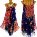robe plissée mousseline bleu marine ANNELYSE