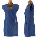 Robe Cœur Croisé  En Jean Indigo Coton  - MAUDE -