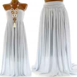 Jupe longue robe bustier soie - APOLLINE -  gris