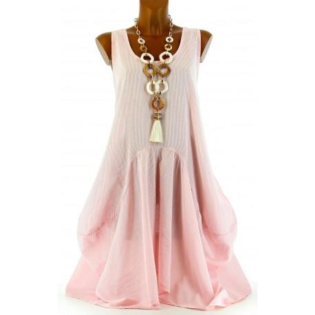 robe rayée rose PENELOPE