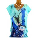 Tee shirt tunique imprimés papillons strass - THANIA - turquoise