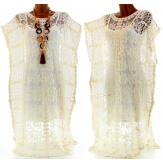 Robe kimono dentelle macramé broderies bohème longue - ANASTASIA - Paréo