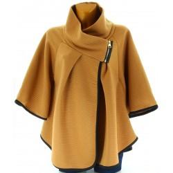 Cape manteau femme grande taille moutarde MATILDA