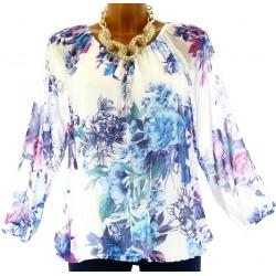 blouse tunique CLARISSA Blanc bleu