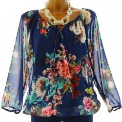 blouse tunique CLARISSA bleu marine