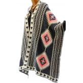 Gilet long poncho ethnique laine gris rose ARTEMIS