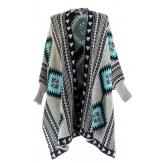 Gilet long poncho ethnique laine beige bleu ARTEMIS