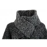 Manteau  boule cape laine zip Noir Gris VIOLETTA
