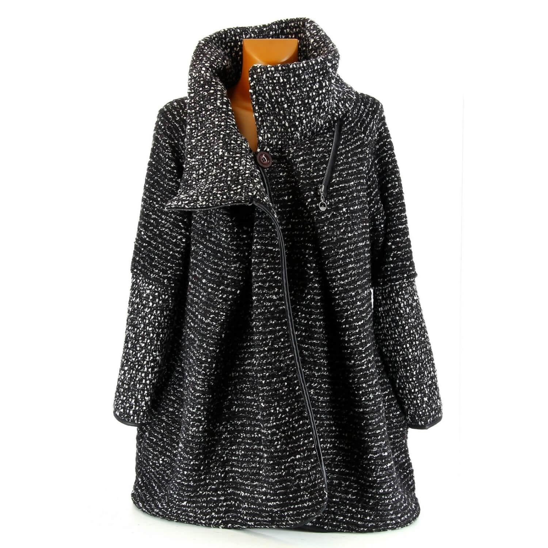 Manteau cape laine bouillie hiver grande taille noir VIOLETTA bc9cd7baf514