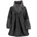 Manteau cape laine bouillie hiver grande taille noir   VIOLETTA.