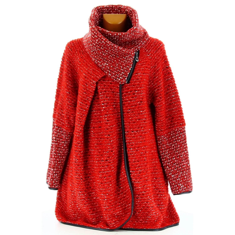 11c601924873 Manteau cape laine bouillie hiver grande taille rouge VIOLETTA