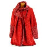 Manteau cape laine bouillie hiver grande taille rouge   VIOLETTA