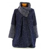 Manteau cape laine bouillie hiver grande taille bleu marine   VIOLETTA