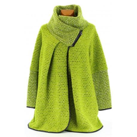 Manteau cape laine bouillie hiver grande taille vert pistache   VIOLETTA