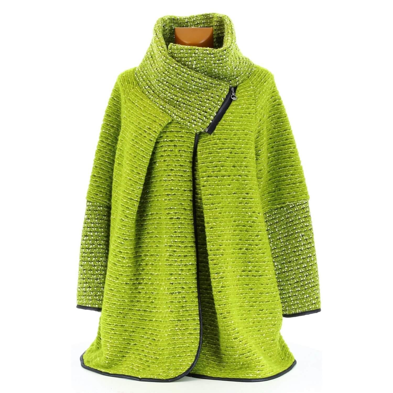 Manteau cape laine bouillie hiver grande taille vert pistache VIOLETTA 6753acaa16e0
