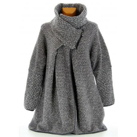Manteau cape laine bouillie hiver grande taille gris  VIOLETTA