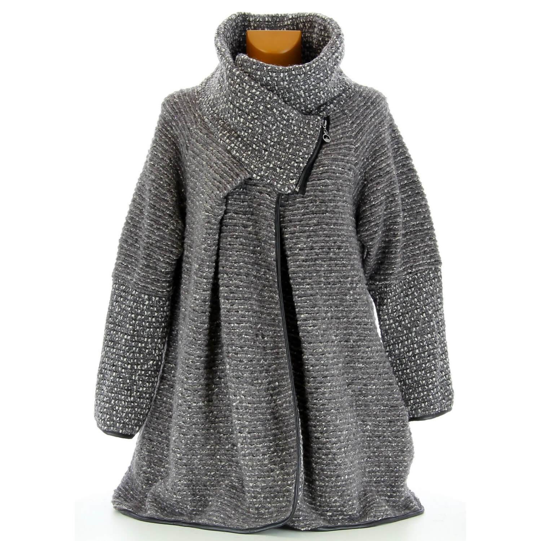 30496d85b59 Manteau cape laine bouillie hiver grande taille gris VIOLETTA