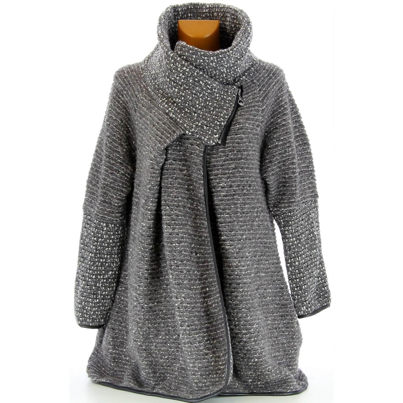 manteau cape laine bouillie hiver grande taille gris violetta. Black Bedroom Furniture Sets. Home Design Ideas